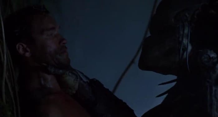 Could have easily killed Arnie, but I love how you can tell at this point the Predator is irritated and pretty much wants to show him who's top dog.