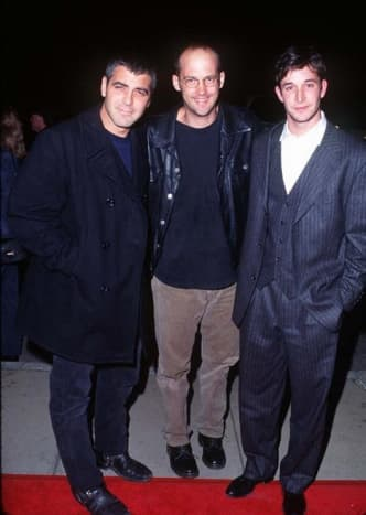 George Clooney with Anthony Edward & Noah Wylie at the 1996 premiere of From Dusk Till Dawn.