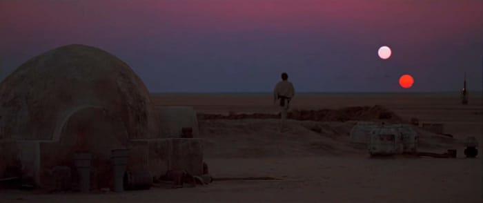 Luke on Tatooine.