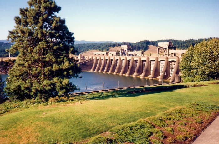 Bonneville Lock and Dam along the Columbia River Gorge