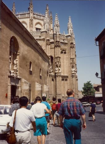Walking through the cobblestoned streets of Toledo following our guide.