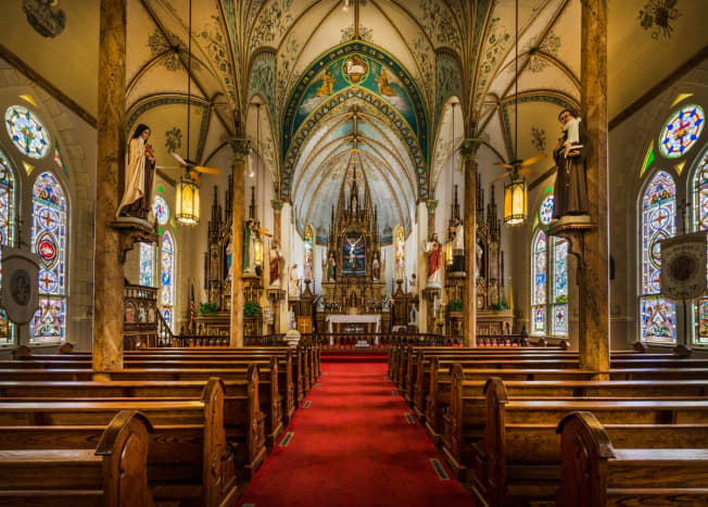Sanctuary of the Nativity of Mary, Blessed Virgin Catholic Church, also known as the St. Mary Catholic Church, in High Hill, a little community near Schulenburg in Fayette County, Texas