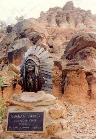 Sculpture near parking lot of Pioneer Amphitheater in Palo Duro Canyon