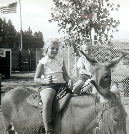 """""""Peggy & Johnny - They are the ones on top"""" (Kids riding donkeys, 1950s)"""