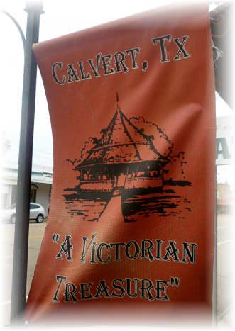 Flags displayed on the Main Street ( Highway 6 ) in Calvert