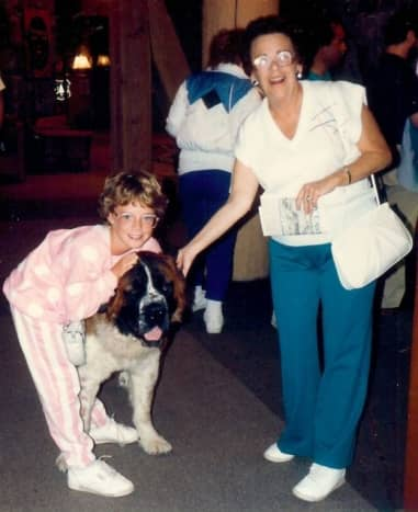 """St. Bernards inside of Timberline Lodge - My mother and niece with """"Bruno"""""""