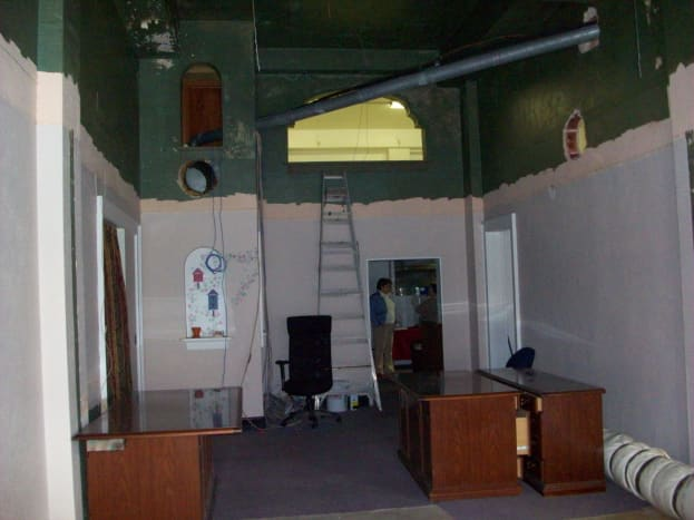 Downstairs during renovations