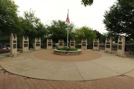 Plaza of the Presidents, commemorating all the US presidents who served during World War II; outdoor display on the grounds of the National Museum of the Pacific War, Fredericksburg, Texas, USA.