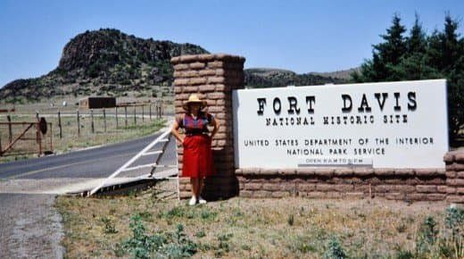 Picture of me at Fort Davis entrance taken by my husband.