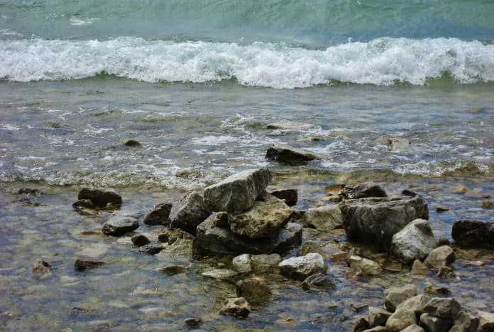 Rocky shoreline on Mackinac Island
