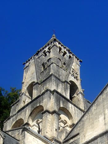 Brantome Abbey church belltower.