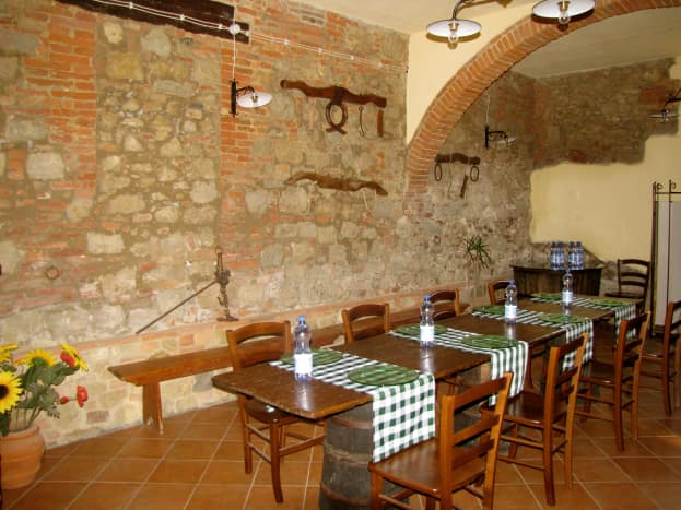 Agriturismo Le Caggiole.  Beautifully restored farmhouse in Montepulciano with a great breakfast.  Paid 85 euro per night