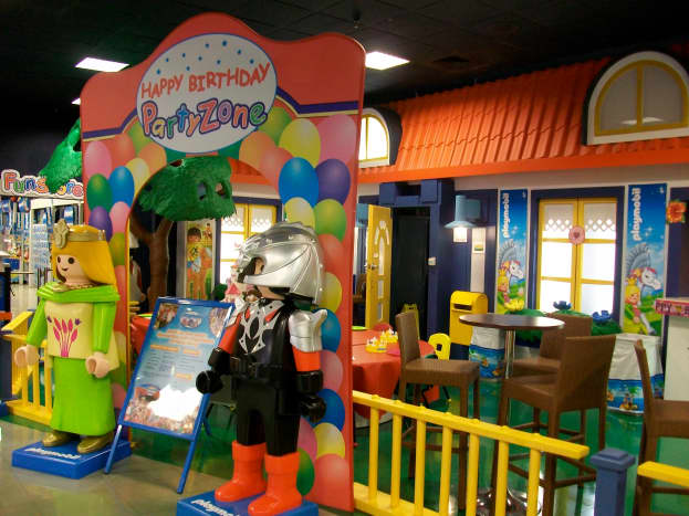 There is a dedicated area for birthday parties, but it is open to the rest of the area, so kids can play when they're done eating.