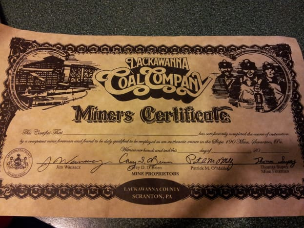 Souvenir miners certificate from the Lackawanna Coal Mine Tour