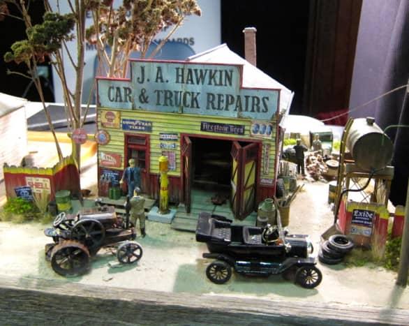 Close up photo of J.A. Hawkin Car & Truck Repairs miniature scene.