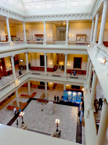 Inside the Capitol one finds a rather gracious Neo-Classical working space.  Photo by author.