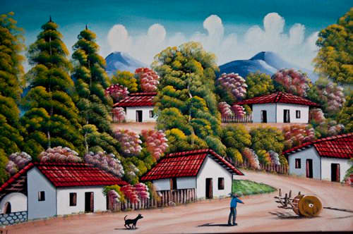 An Original Oil Painting of Rural Scene in Primitive Style, Tegucigalpa