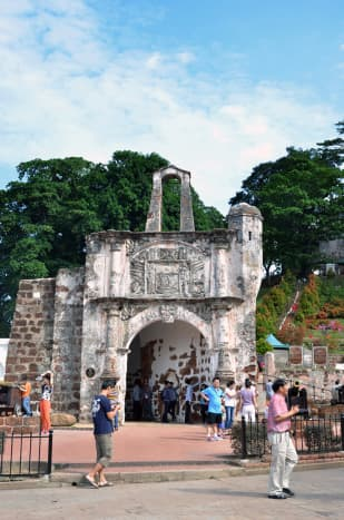 A Famosa, Malacca's most famous colonial ruin. This centuries-old structure is actually Portuguese in origin. Portugal was the first European power to colonise Malacca.