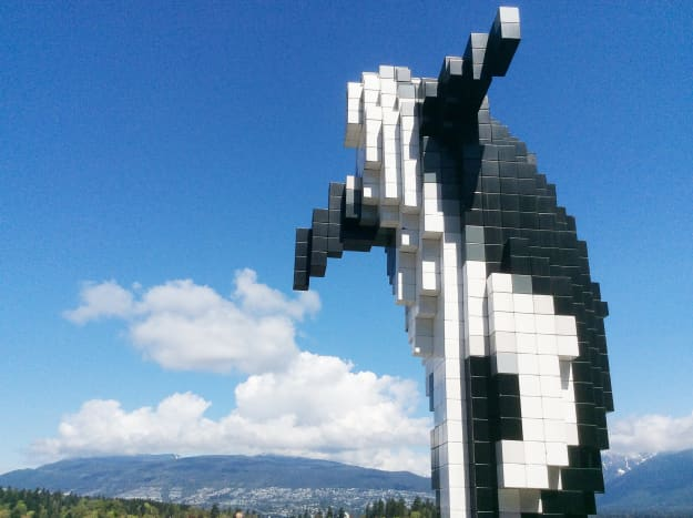 From close up, it's hard to tell what the blocks in the digital orca represent.
