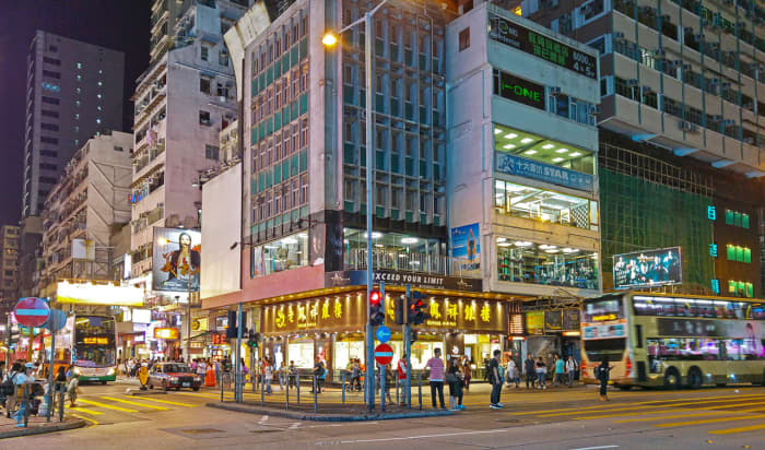 View upon exiting Mong Kok station. This is the junction of Sai Yeung Choi South Street and Argyle Street.