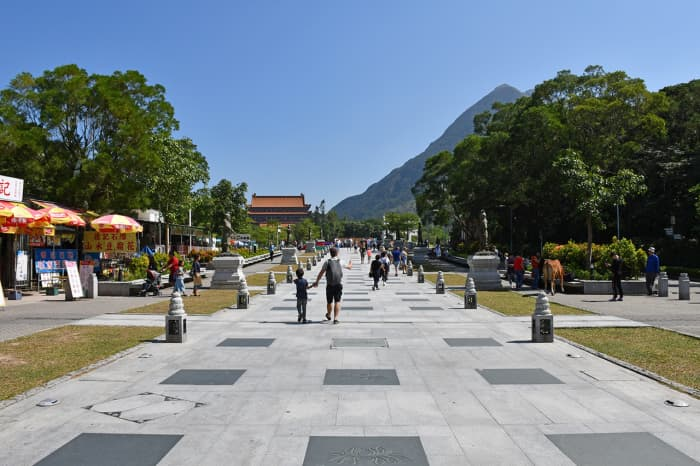 The paved road leading to Ngong Ping Piazza.