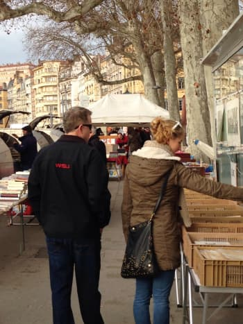 Flipping Through Records at Lyon's Marché aux Bouquinistes