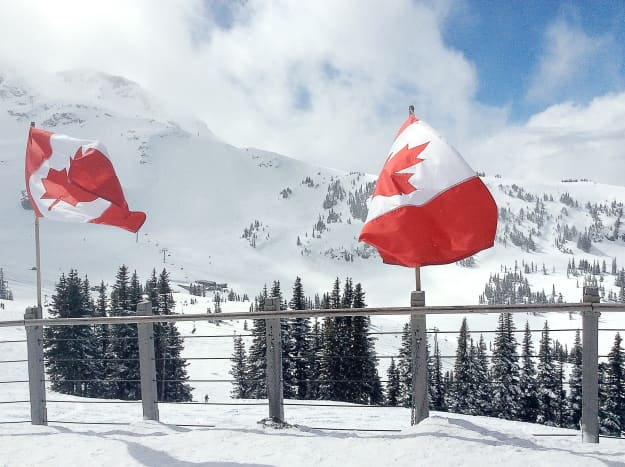 A photo taken on Whistler Mountain by the Roundhouse Lodge
