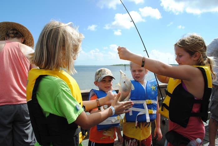 GALVESTON, Texas (Oct. 5, 2013) - Nearly 80 children participate in the first Fishin' 4 Fun Kids Fishing Tournament at Seawolf Park.