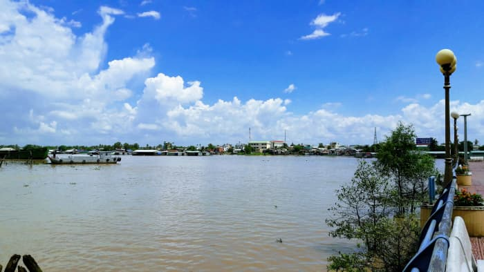 The Tien River is always opaque with alluvial deposits.