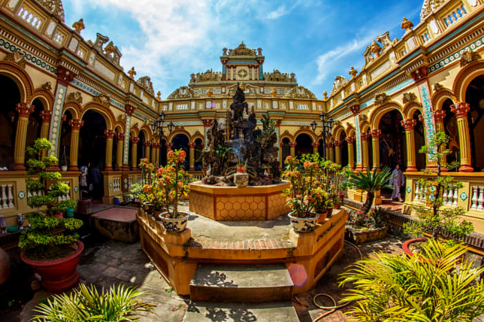 The Vinh Trang Pagoda boasts a unique mixture of Oriental and European architecture.