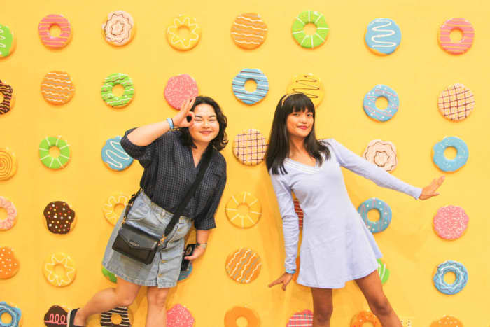 The donut walll of The Dessert Museum