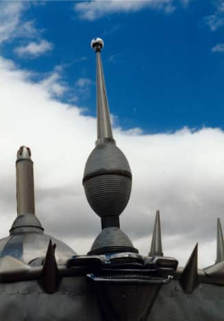 Details of ornamentation on top of the Art Car Museum in Houston