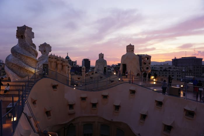 The roof and chimneys at the top of La Pedrera.