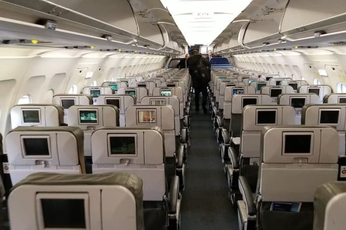 This is the view looking forward from near the back of the plane.