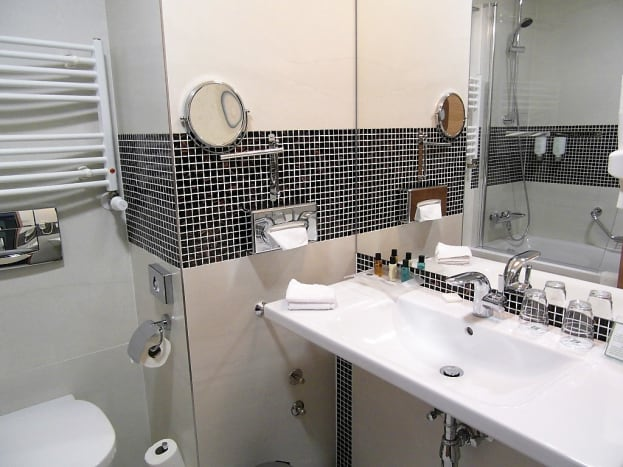The sink area.