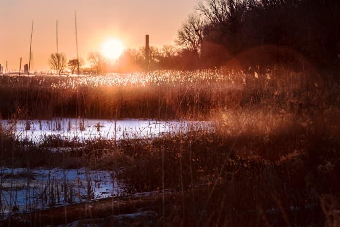 Sunrise over a frozen marsh along Lake Huron at Bay City State Park - Bay City, Michigan