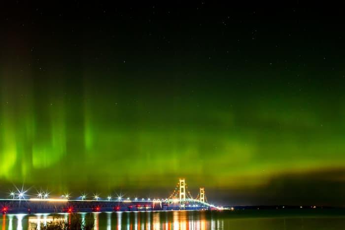 Northern lights above the Mackinac Bridge at night - Mackinaw City, Michigan