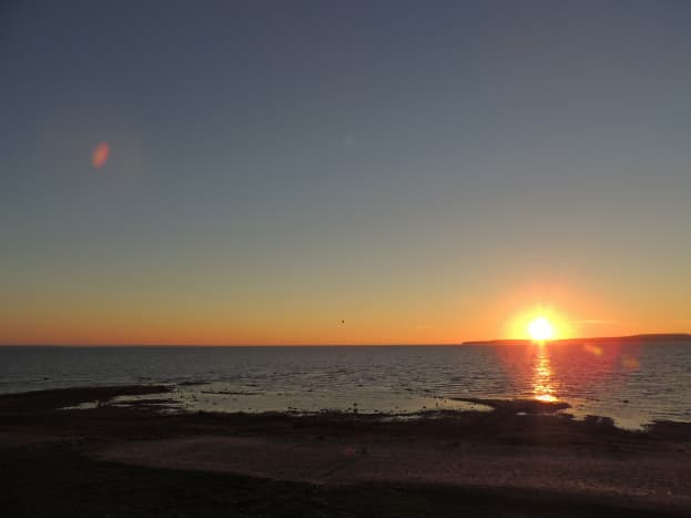 Sunrise over Mackinac Island as viewed from my hotel balcony in St. Ignace, Michigan