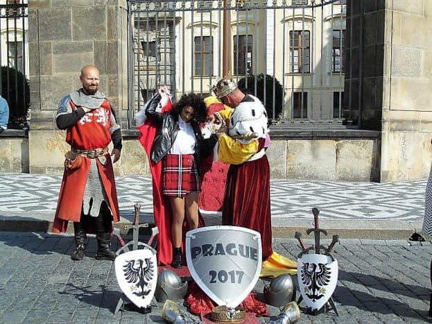 Dressing up outside Prague Castle.