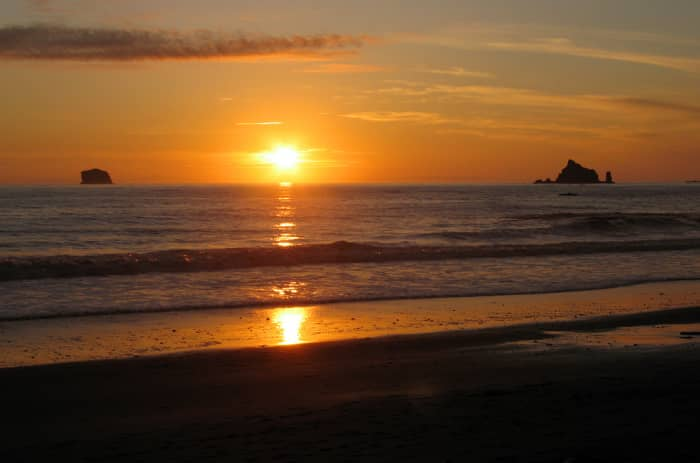 Rialto Beach at sunset at Olympic National Park near Seattle, Washington