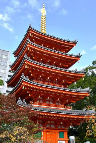 The vermilion pagoda of Tōchō-ji. A truly eye-catching traditional structure set nested among modern skyscrapers. One of the most beautiful Fukuoka attractions too.