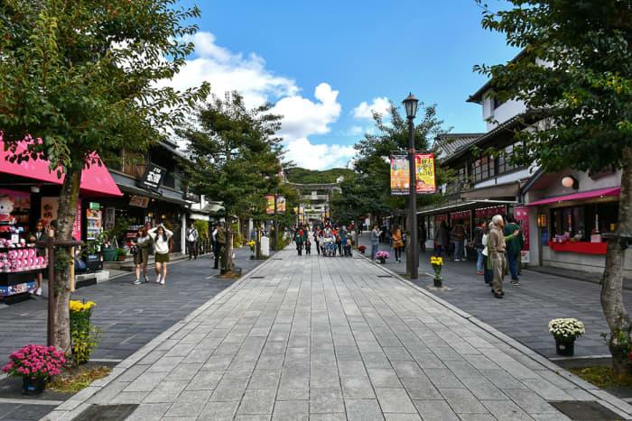 Shopping street connecting the train station and Dazaifu Tenmangu Shrine.