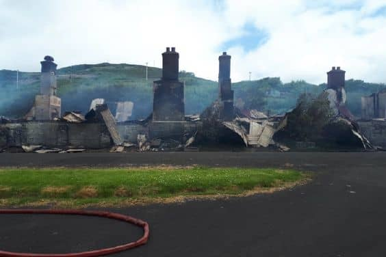The old barracks area at the rear of Fort Dunree was fire damaged on 1 August 2019