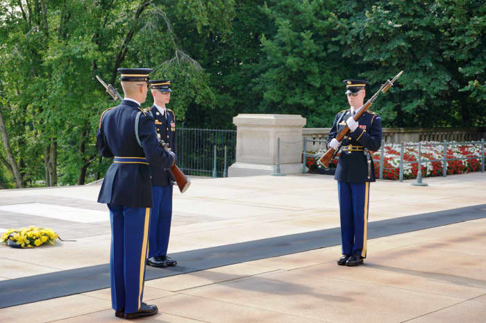 Changing of the Guard at the Tomb of the Unknown Soldier in Arlington National Cemetery in Washington, DC