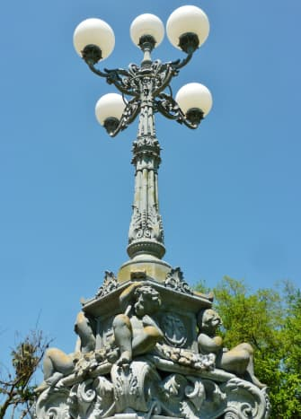 Closer view of the Lombard Lamp on Heights Blvd. in Houston