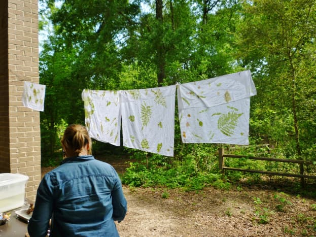 Printmaking class using wild plants