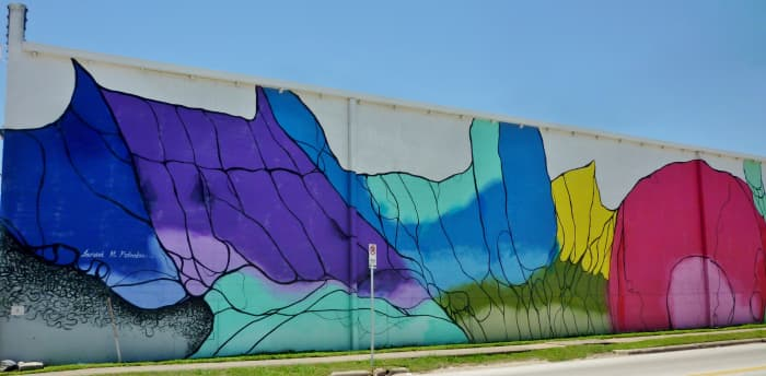 A portion of Mural at 1505 Sawyer Street by Janavi M. Folmsbee