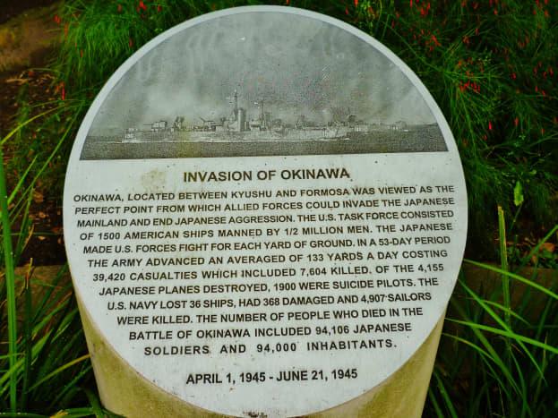 Invasion of Okinawa information on a bollard