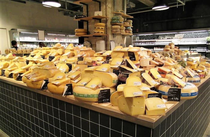 A Marqt cheese counter, Amsterdam.