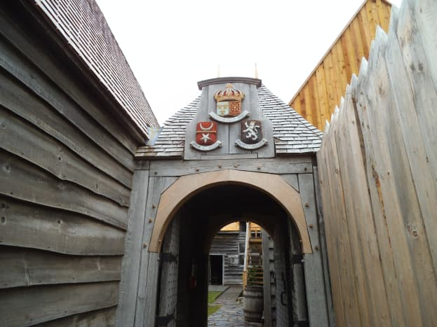 The buildings and rooms were built around an open courtyard so they served as a fortress. This is the entrance.